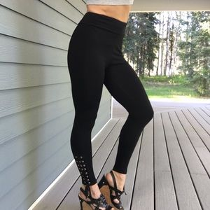 New Black long tie up ankle pants